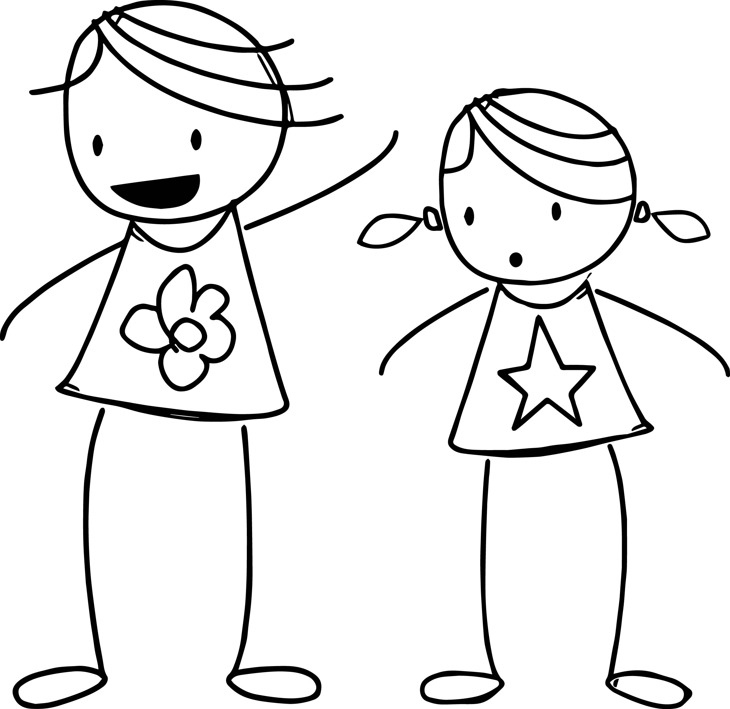 Basic Stick Princess Coloring Page