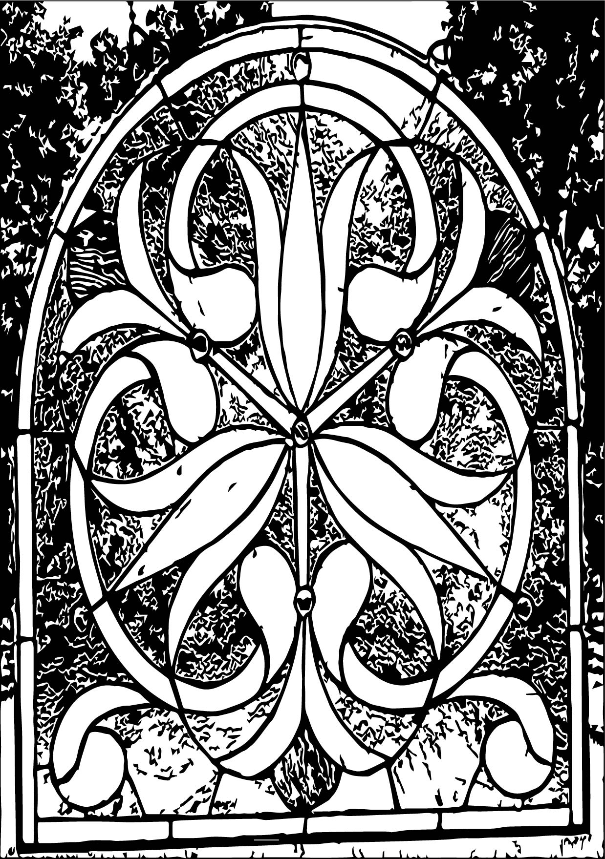 Best Floral Stained Coloring Page