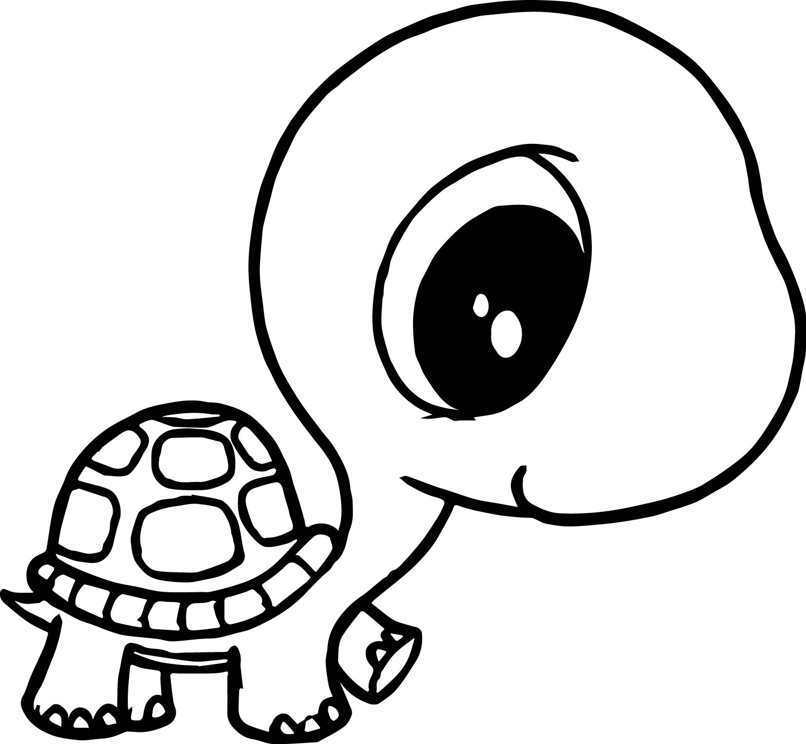 big head small body tortoise turtle coloring page - Big And Small Coloring Pages