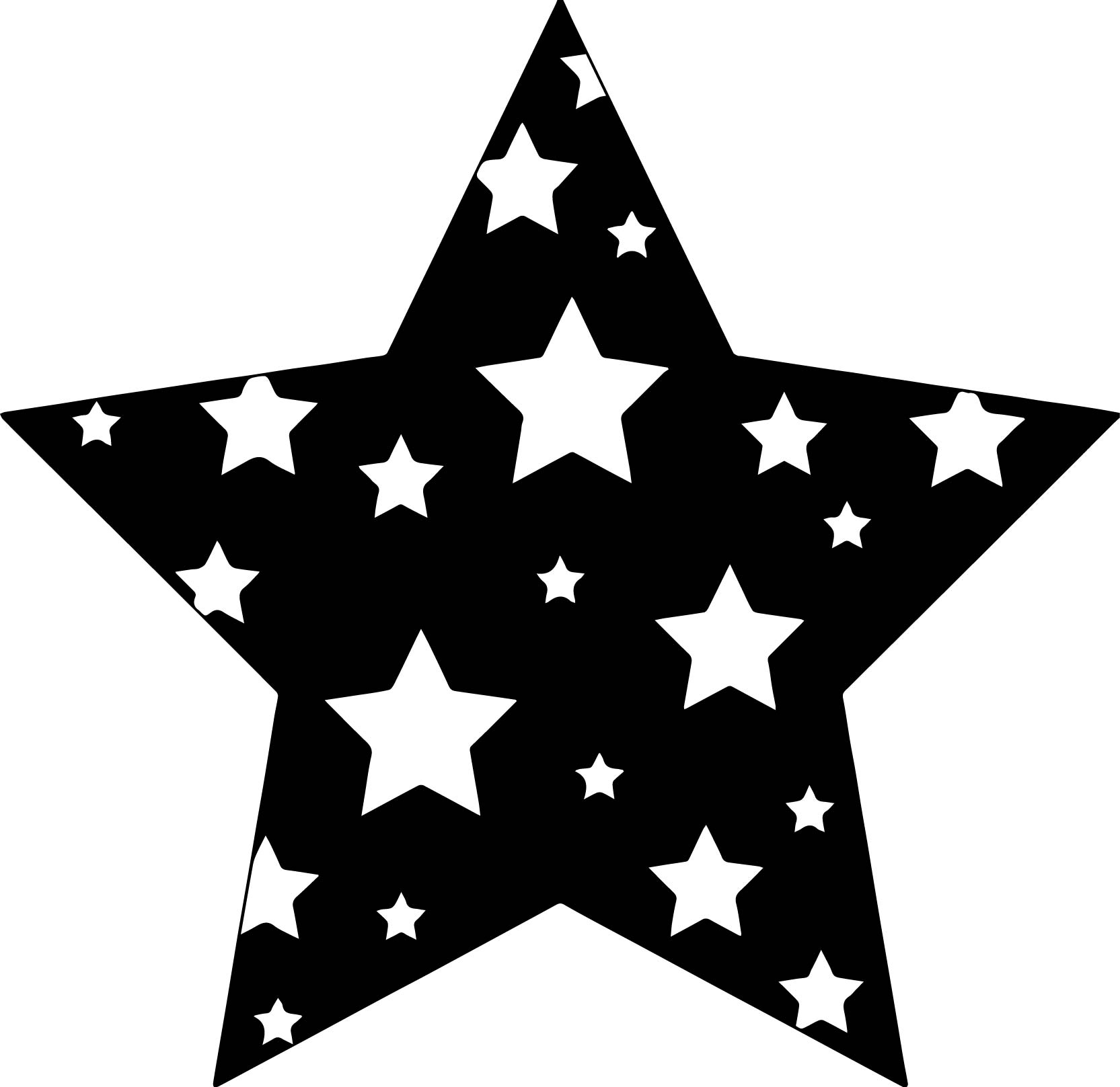 Black Background Stars Coloring Page