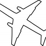 Black Outline Airplane Coloring Page