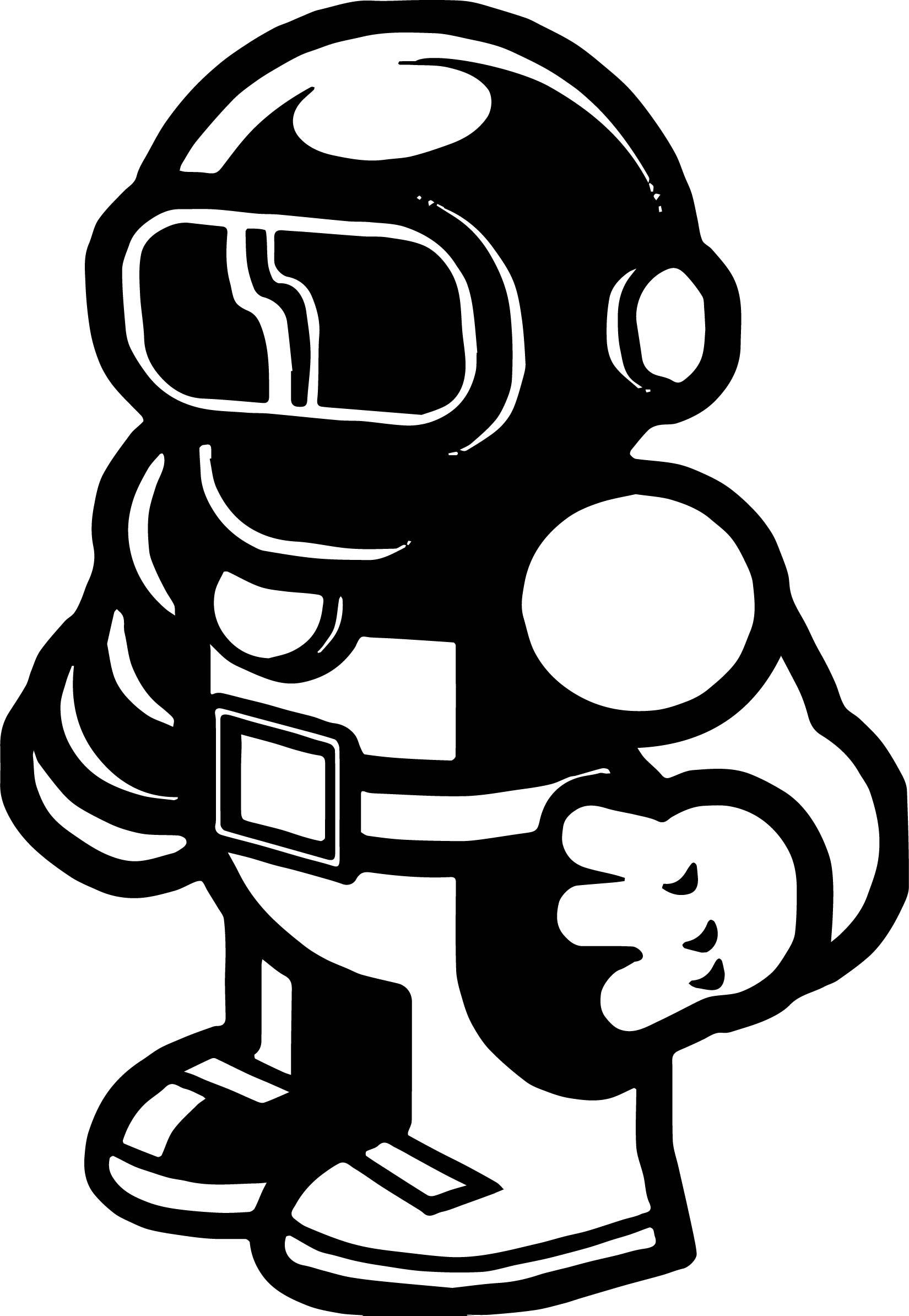 Black Spaceman Cartoon Coloring Page