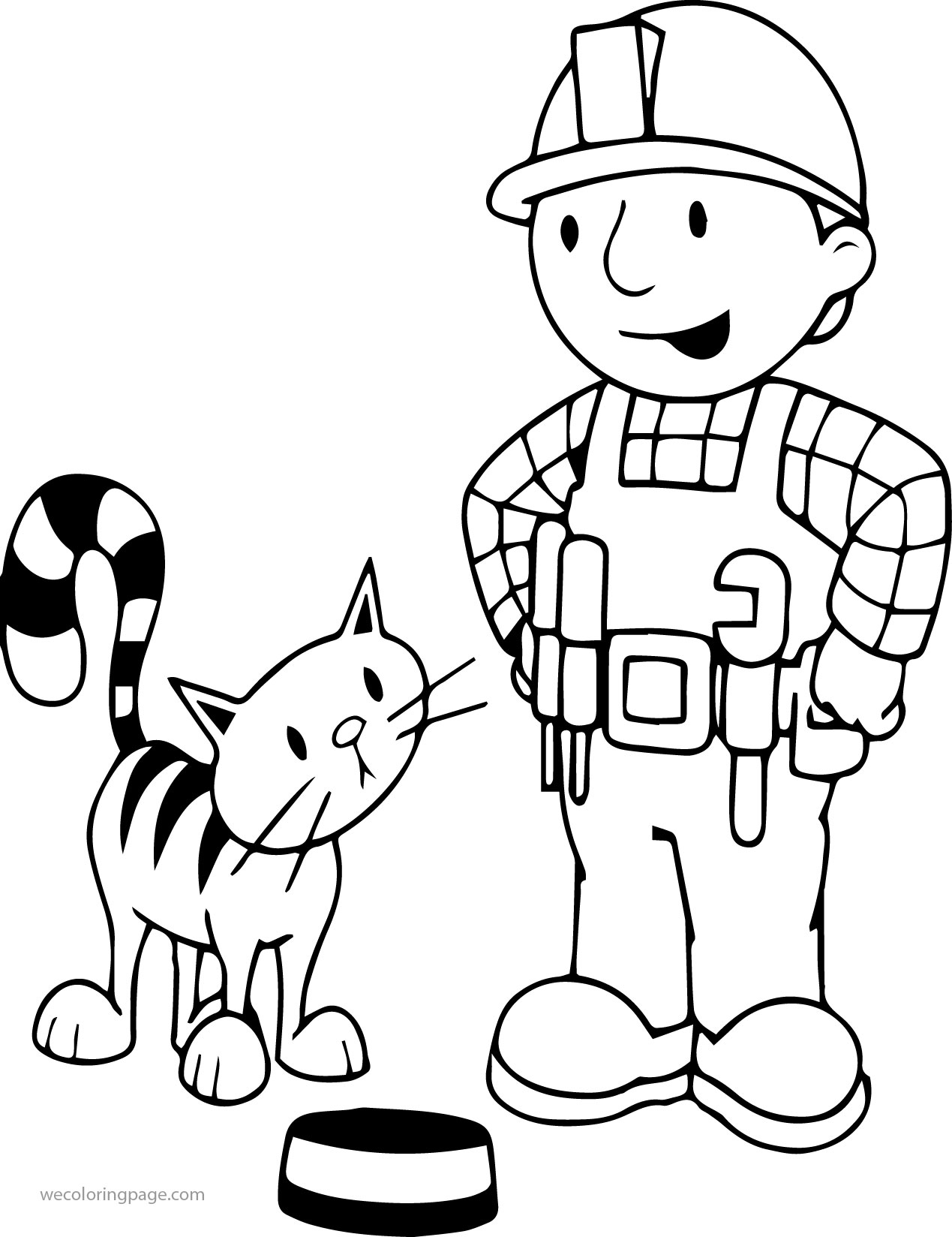 Bob The Builder With Cat Coloring Page
