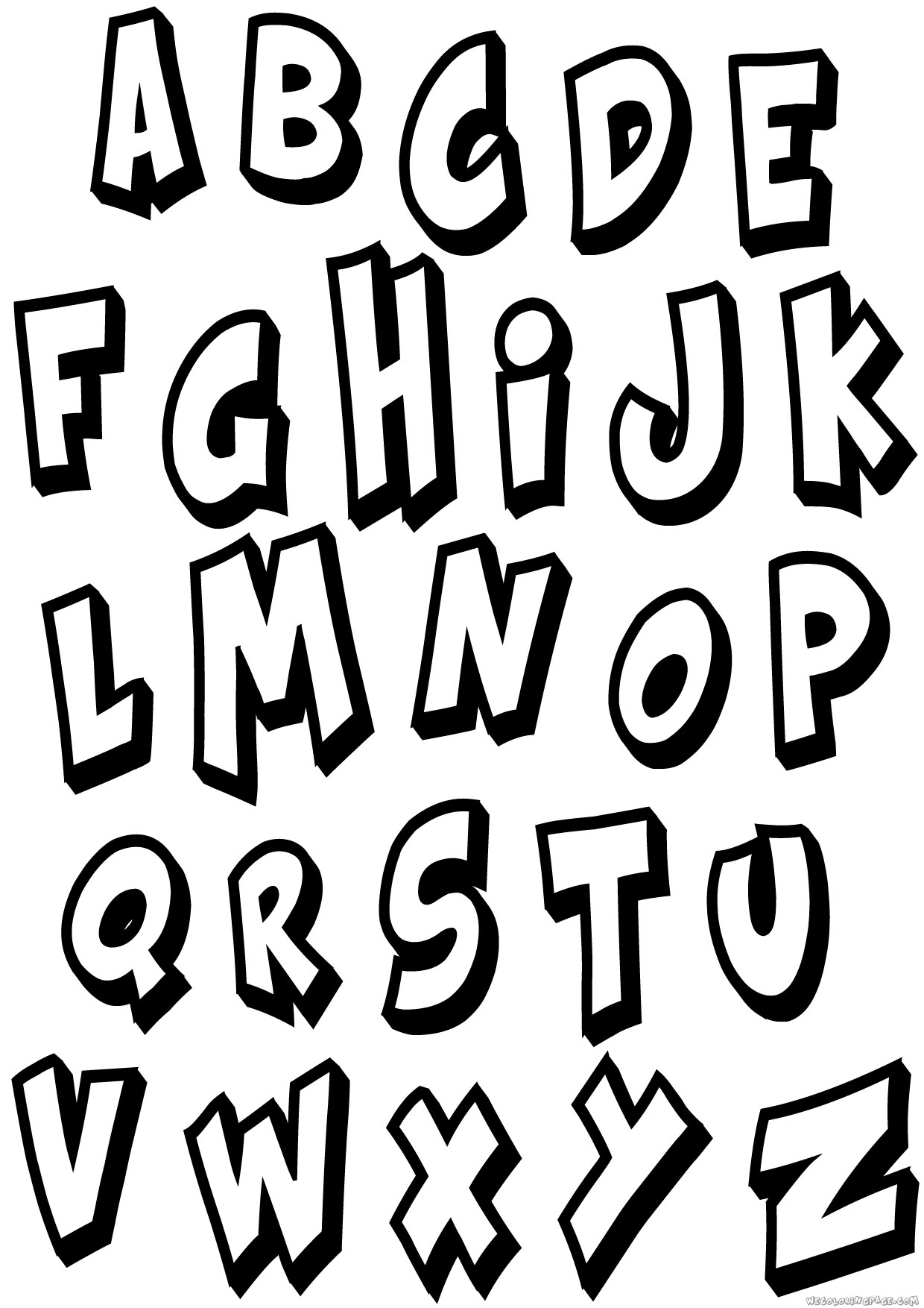 Bold Kraash Alphabet Coloring Page