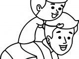 Boy Playing With His Father Family Coloring Page