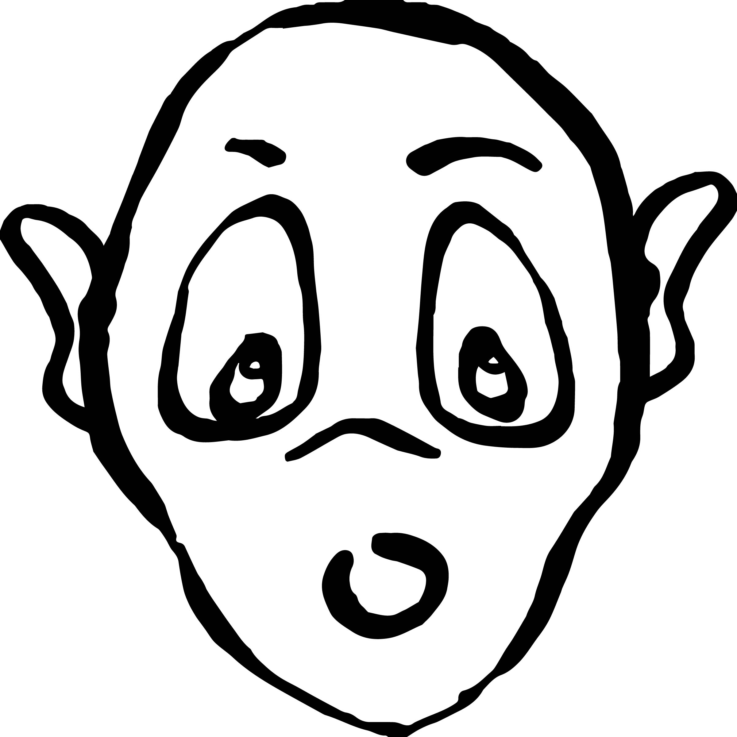 Cartoon Alien Face Coloring Page