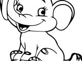 Cartoon Baby Elephant Cute Coloring Page