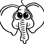 Cartoon Elephant Face Coloring Page