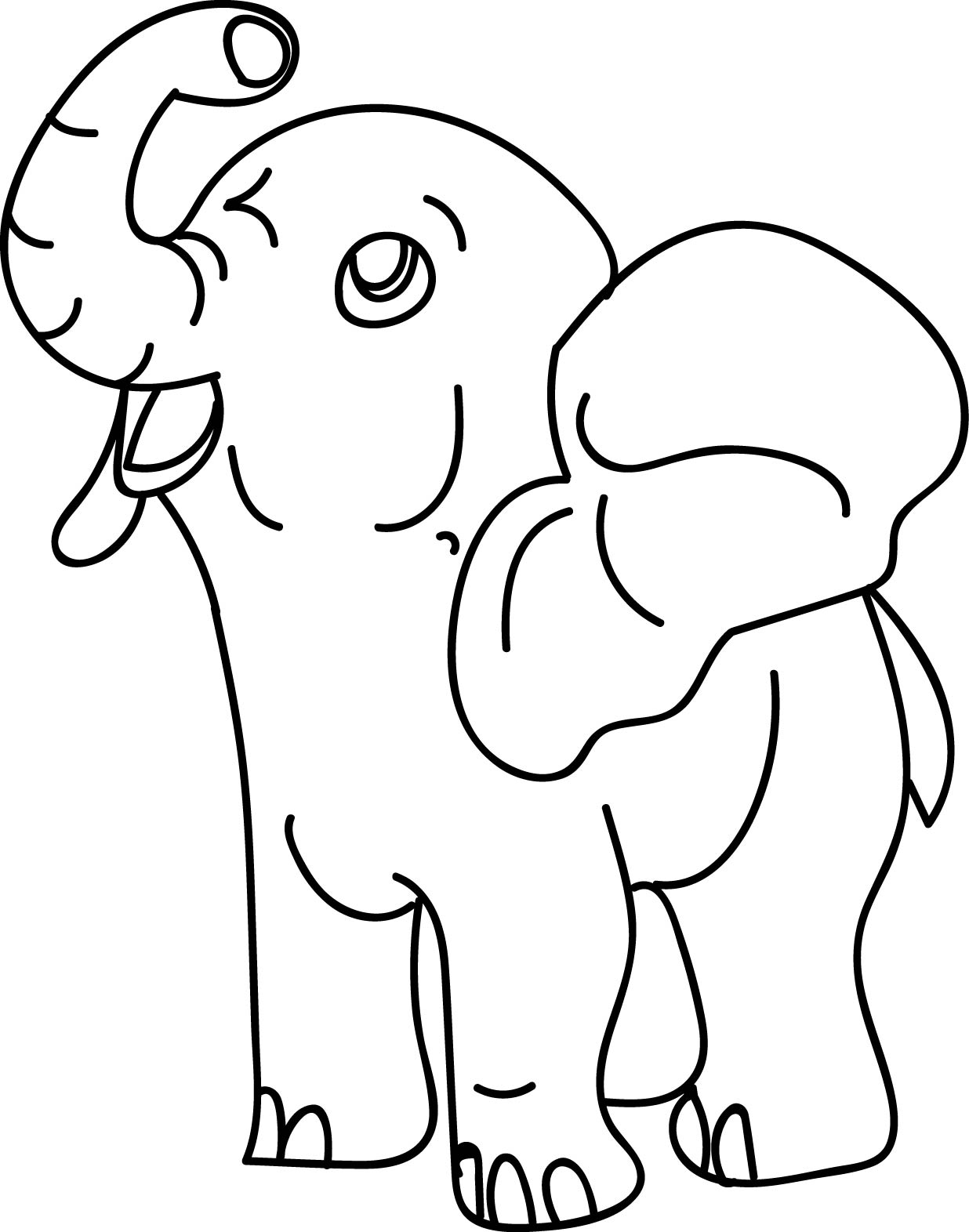 Cartoon Elephant Hose Coloring Page