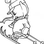Cartoon Elephant Skiing Coloring Page