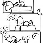 Cartoon Snoopy Sleep Bad Coloring Page