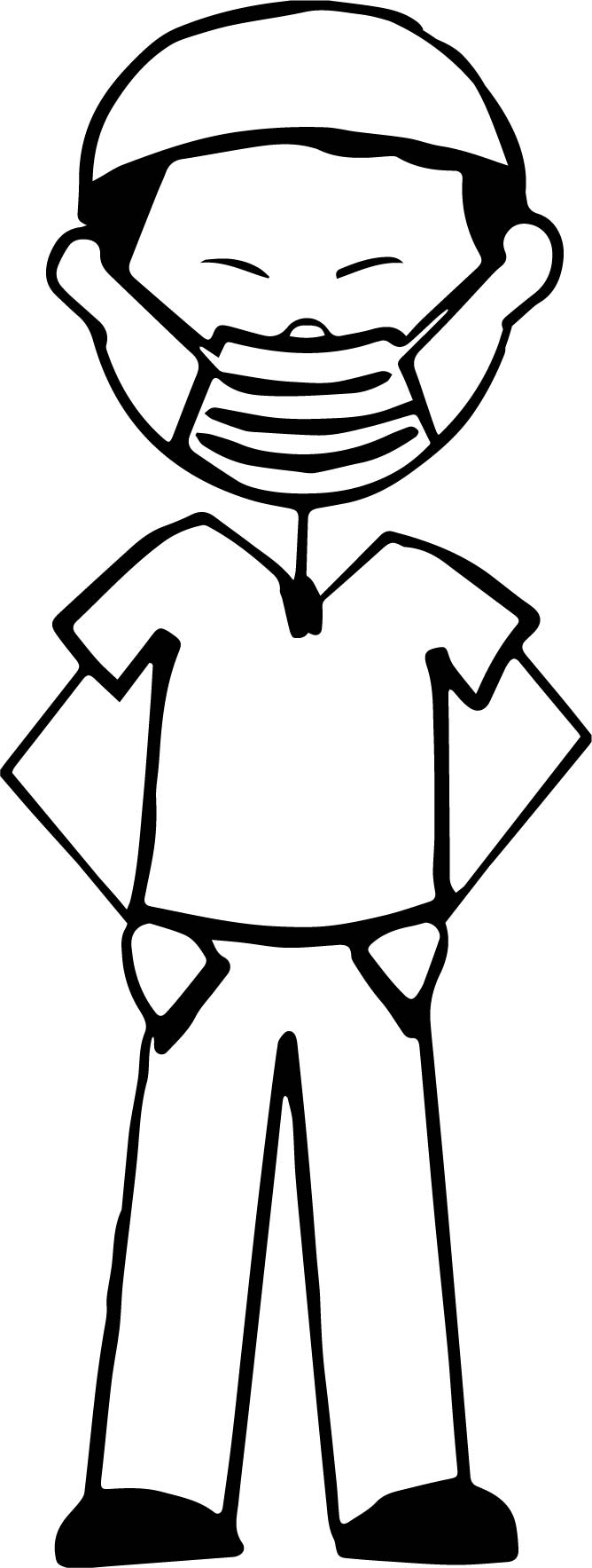 cartoon surgeon wearing a surgical mask coloring page wecoloringpage