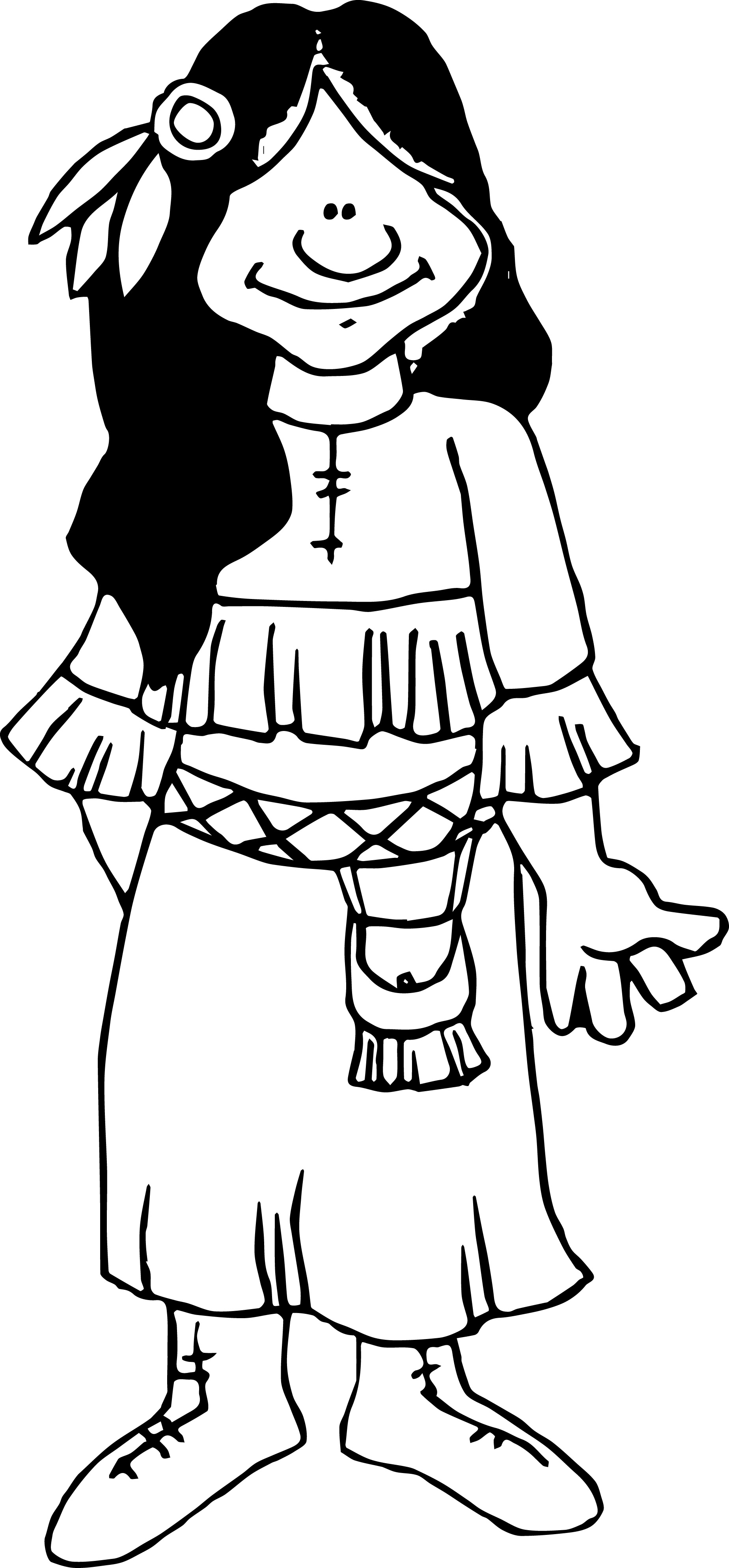 Cherokee Woman Coloring Page