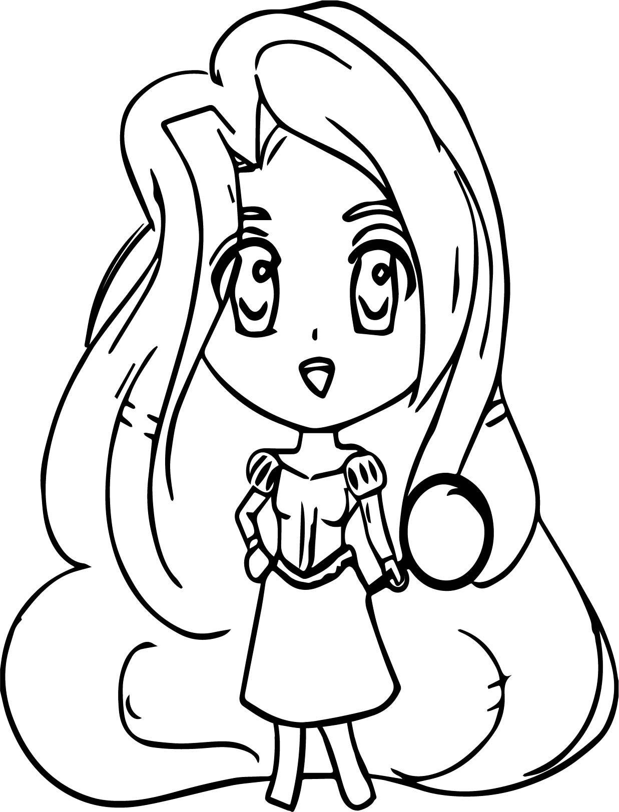 chibi manga rapunzel coloring page wecoloringpage