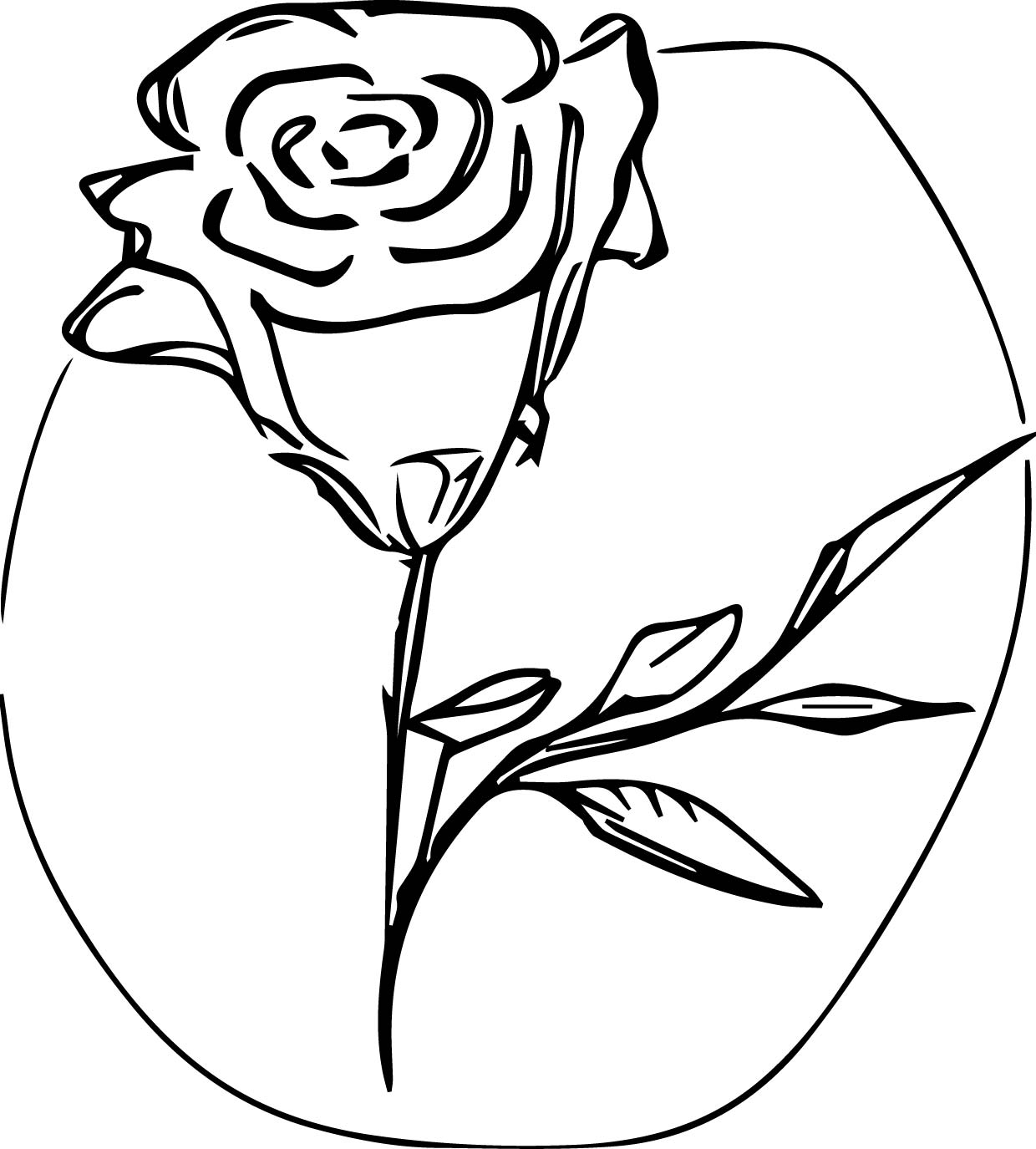 Coloured Rose Coloring Page