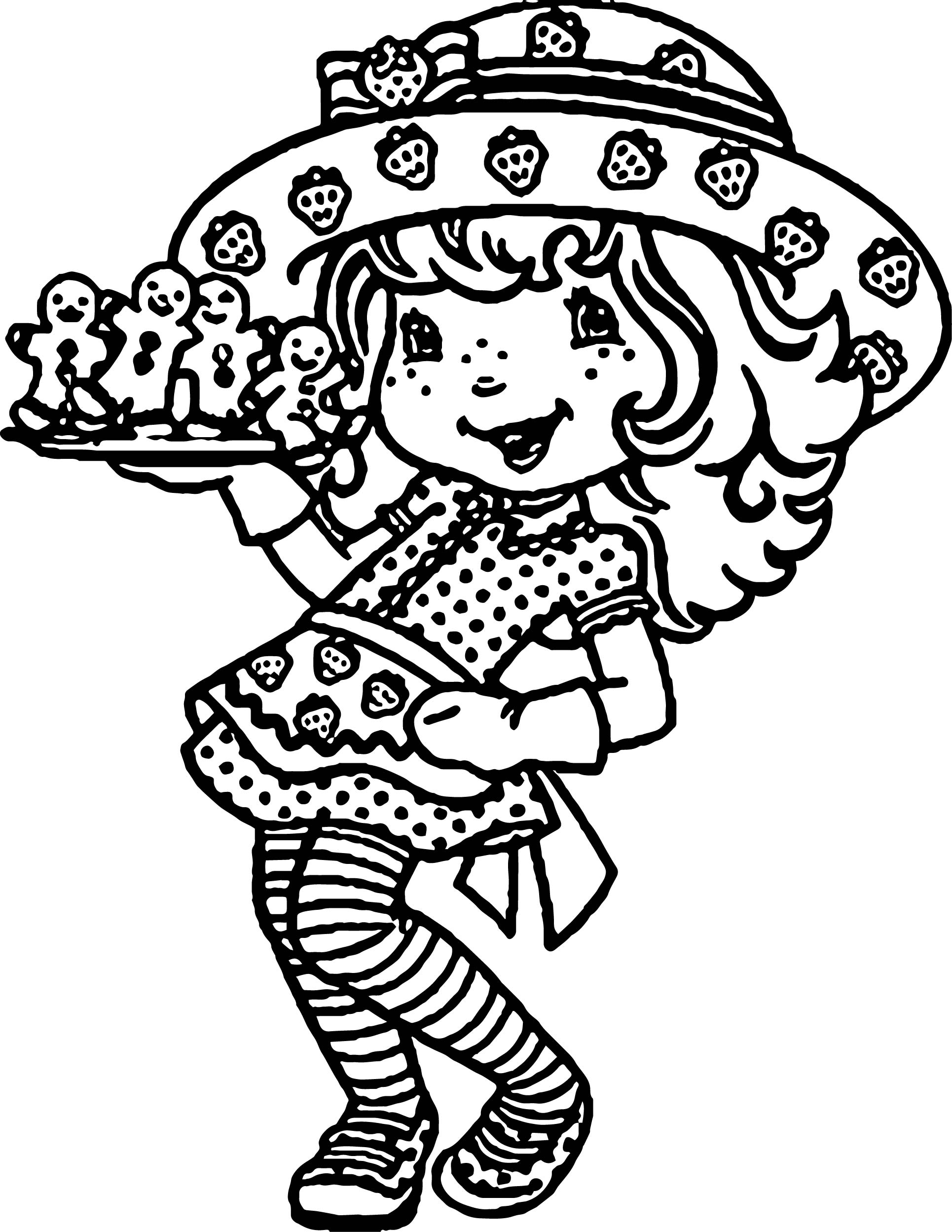 Cookie Food Strawberry Girl Coloring Page