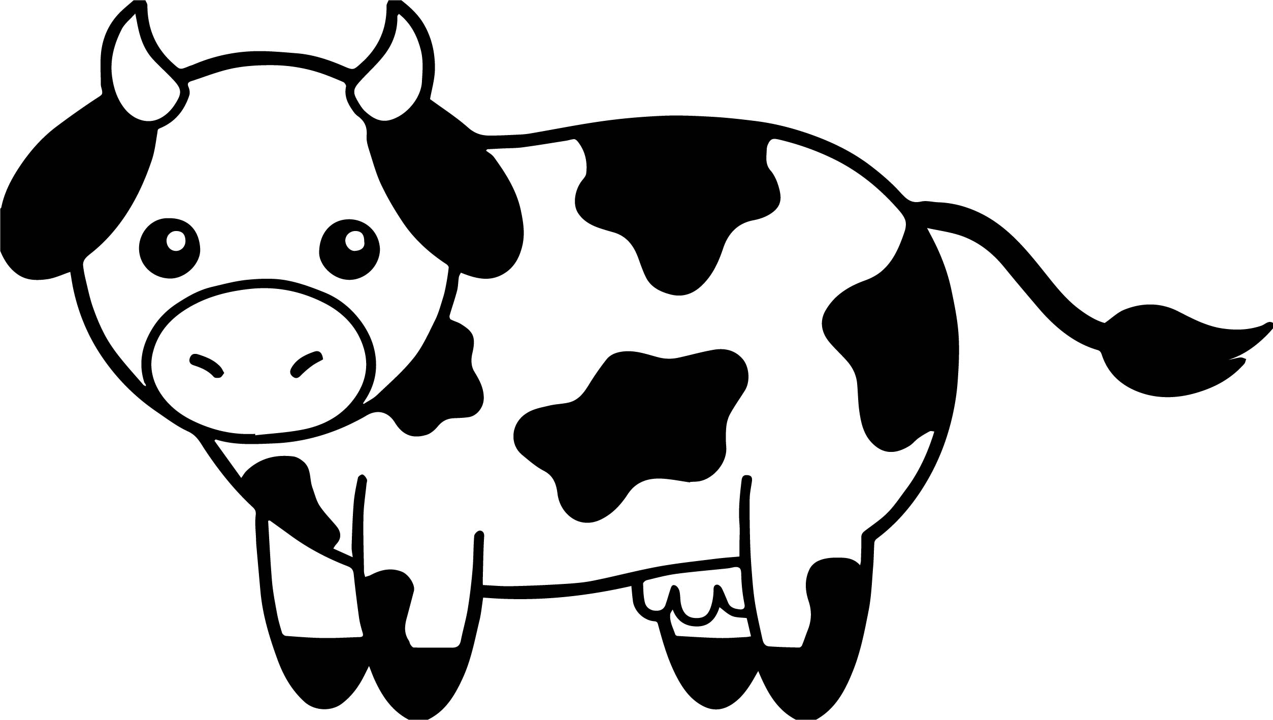 Cow Head Black And White Family Coloring Page