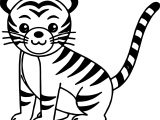Cute Cat Tiger Coloring Page