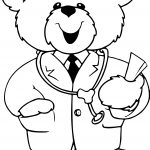 Cute Doctor Bear Coloring Page