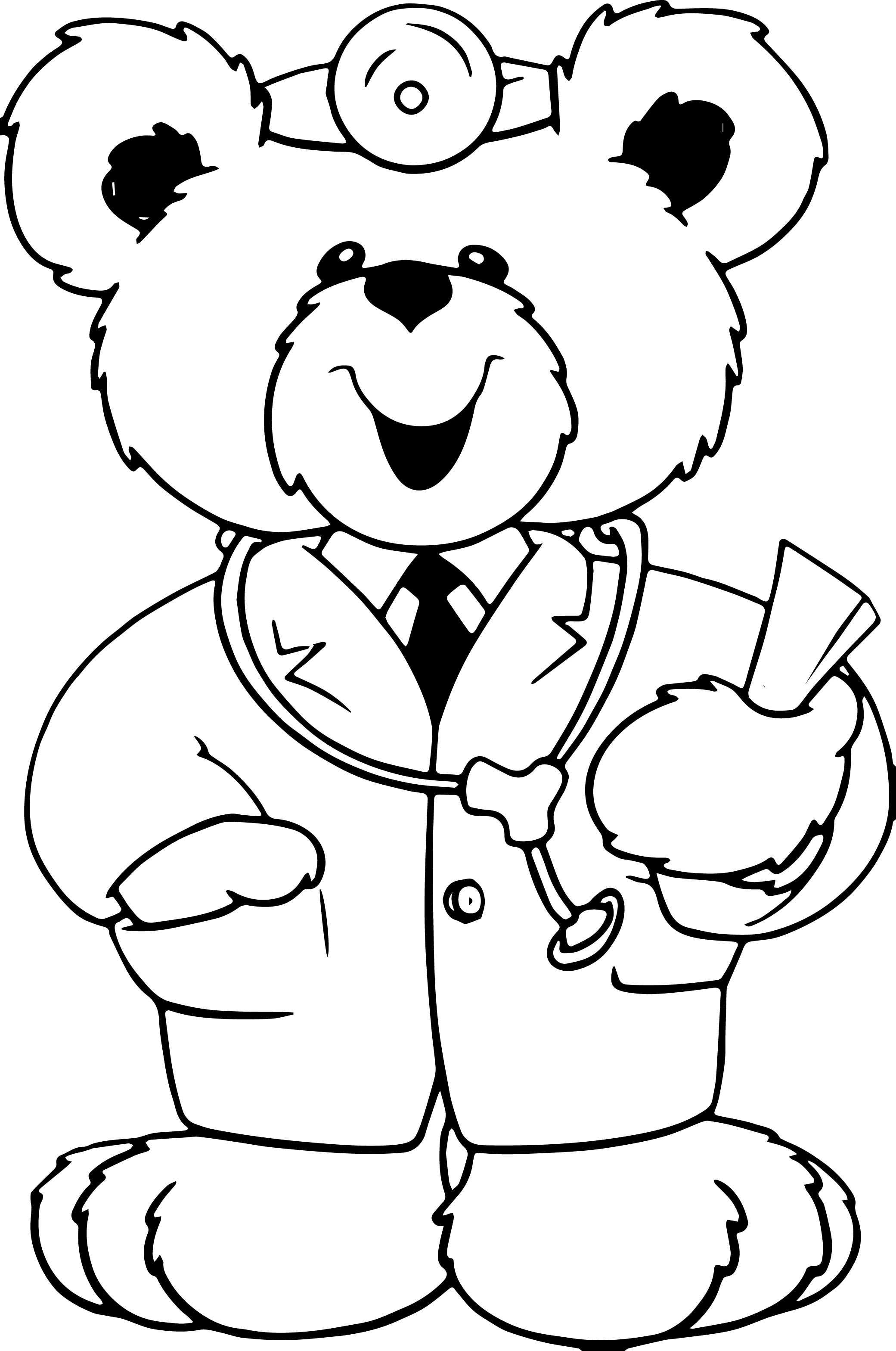 cute doctor bear coloring page wecoloringpage