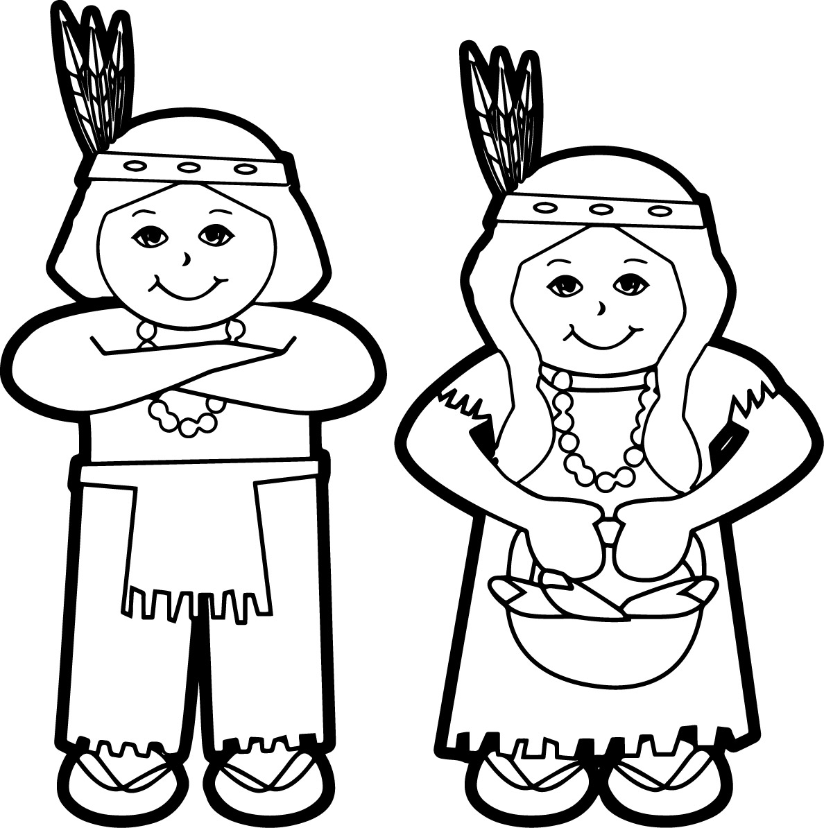 Cute Native American Man And Woman Coloring Page