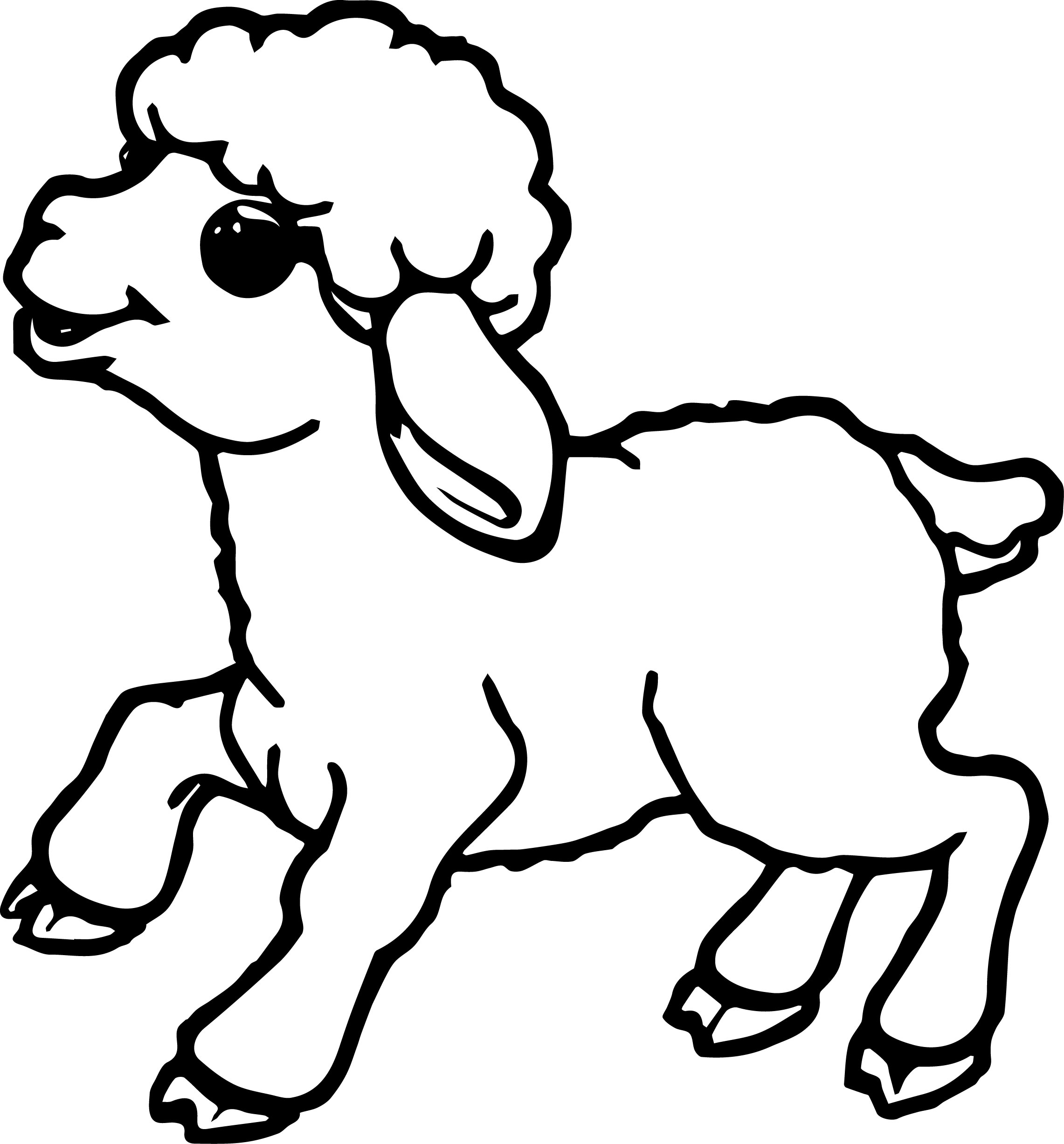 lamb coloring page cute small sheep coloring page