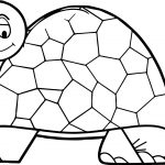 Cute Thinking Tortoise Turtle Coloring Page
