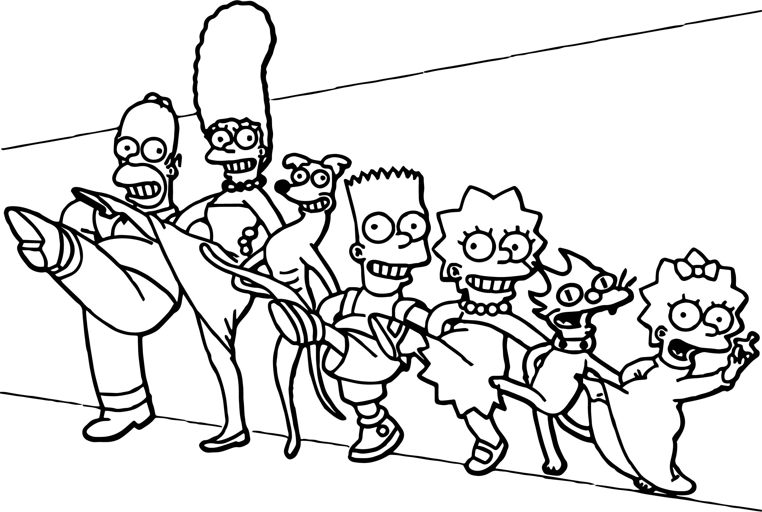 simpsons family coloring pages contegri com