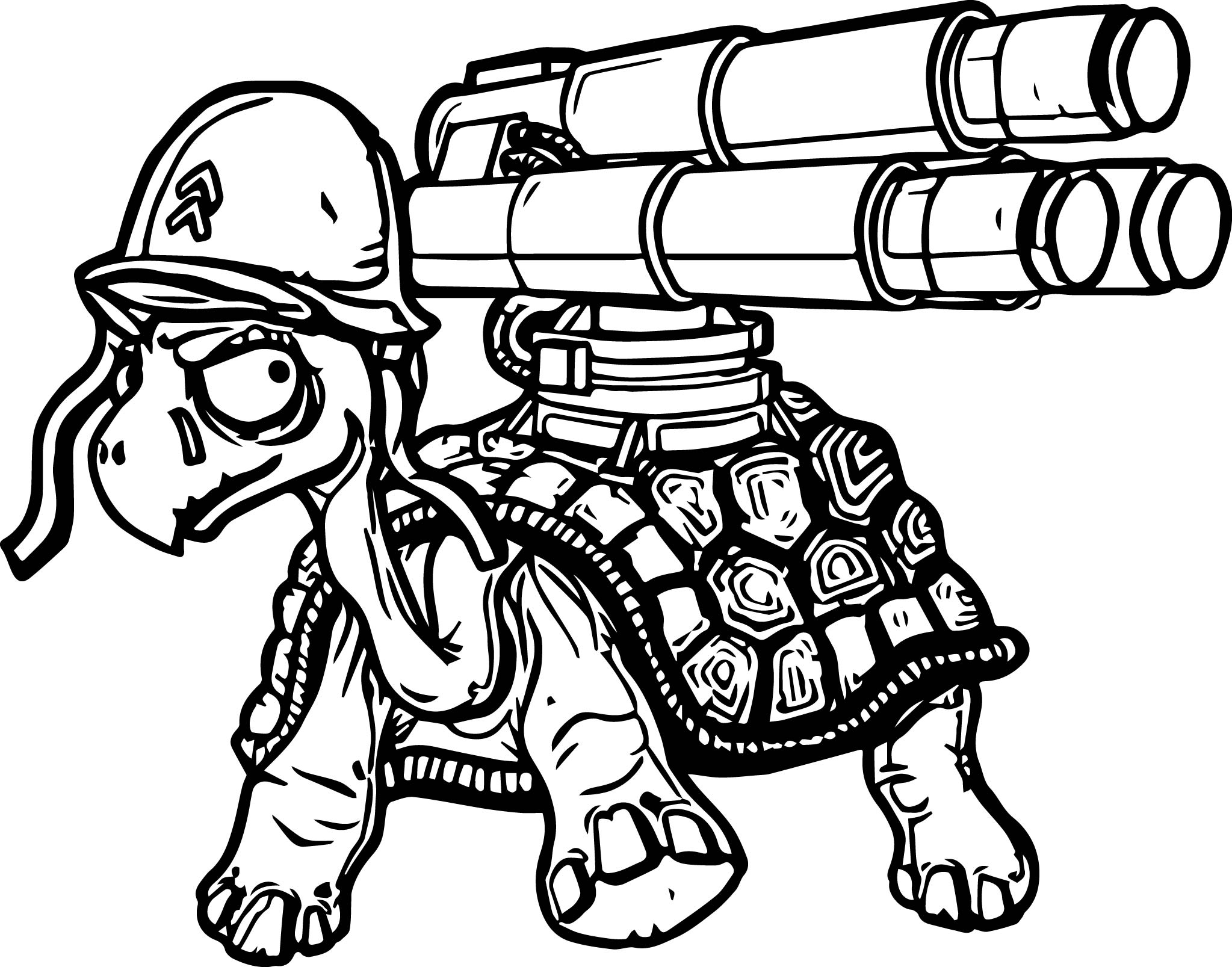 pistol coloring pages - danger tortoise turtle gun coloring page