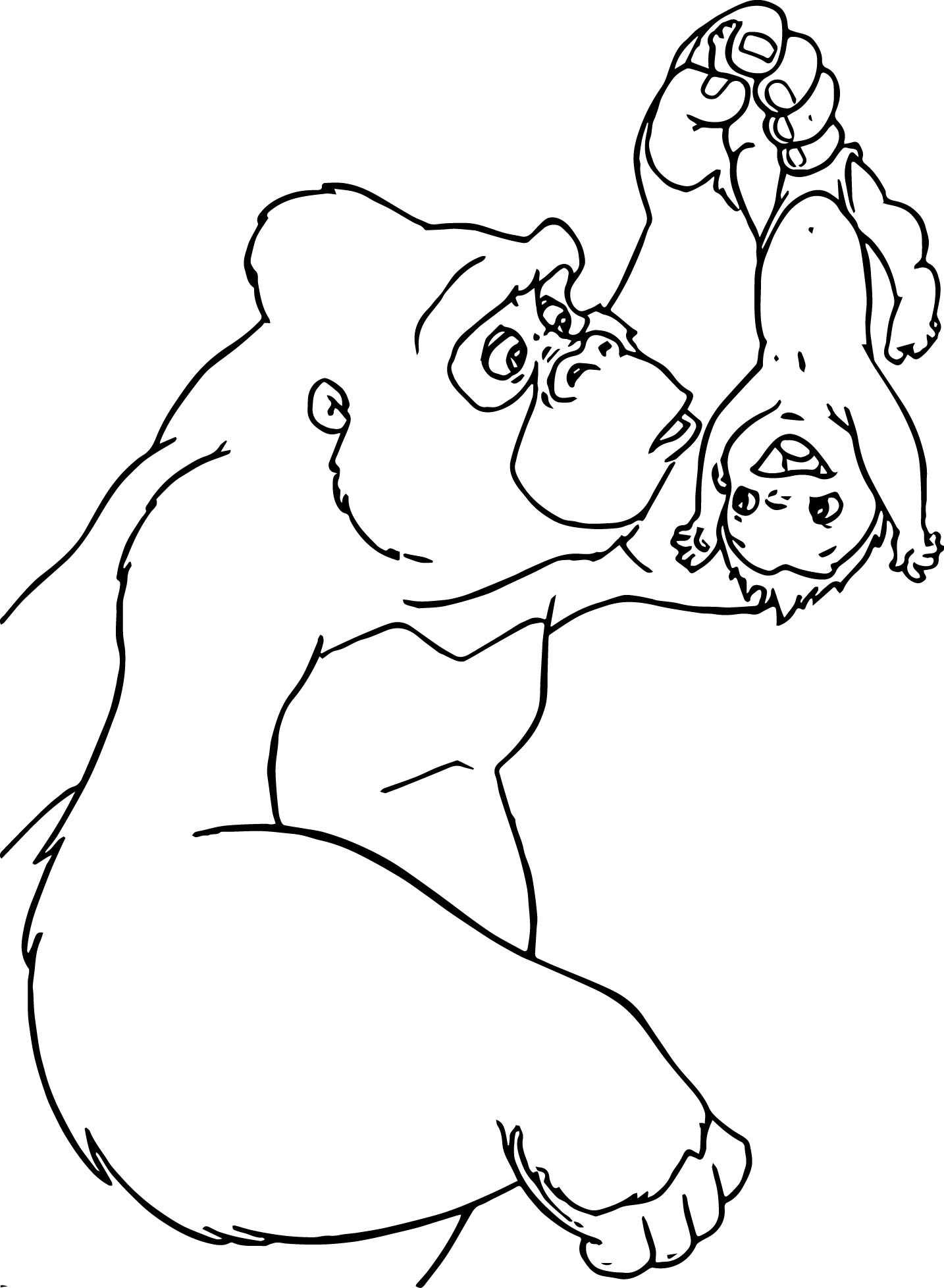 Disney Baby Tarzan Kala Baby Turn Coloring Page How To Turn A Picture Into A Coloring Page