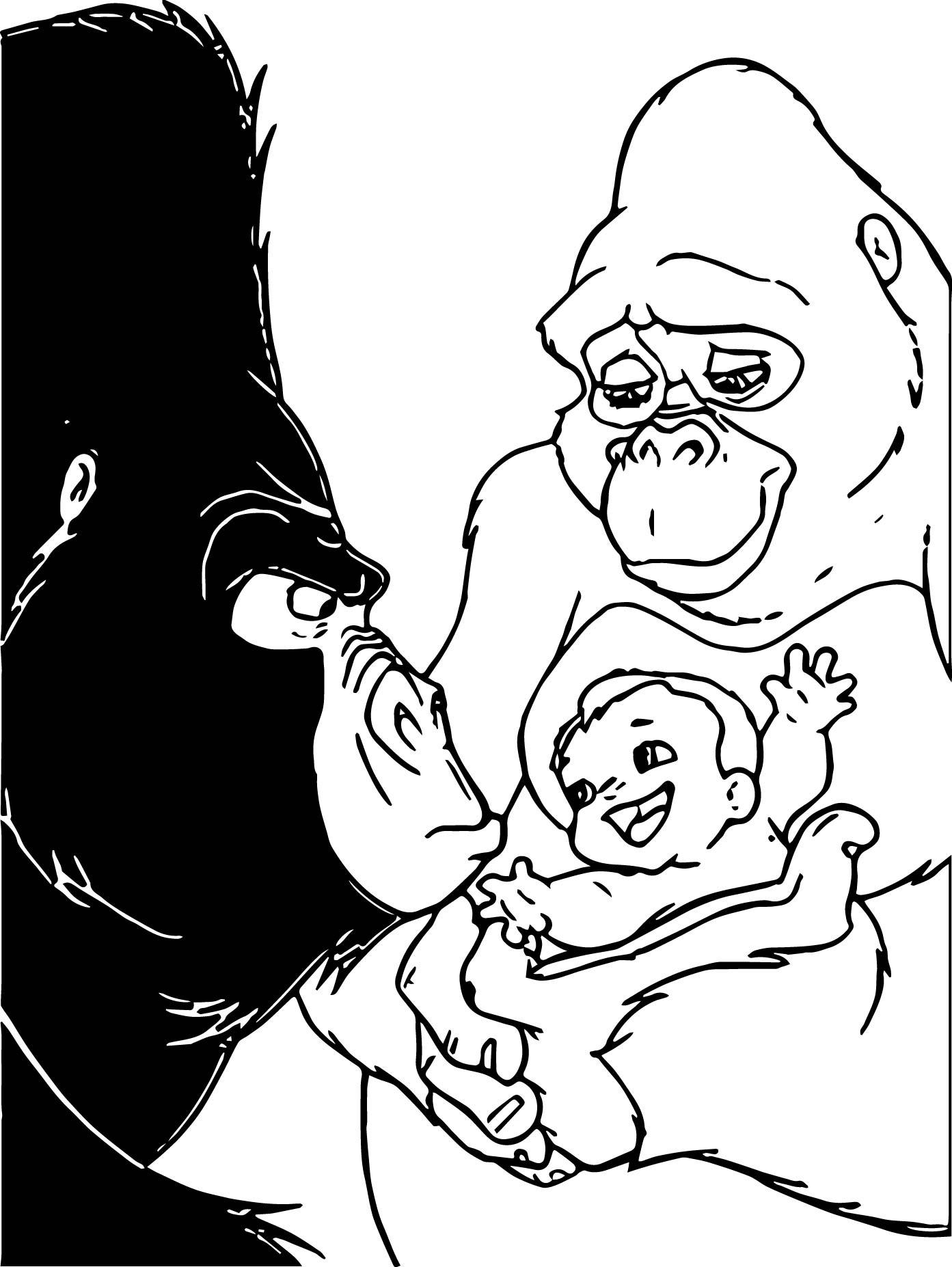 disney baby tarzan ker chak baby hand coloring page