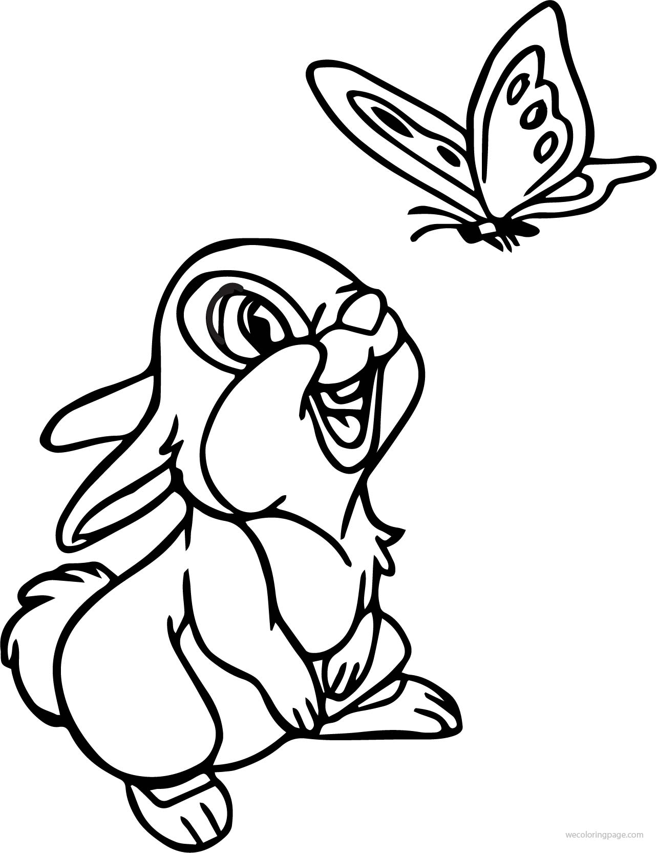 disney bambi thumper bunny see butterfly cartoon coloring page