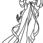Disney Enchanted Princess Girl Walk Coloring Pages