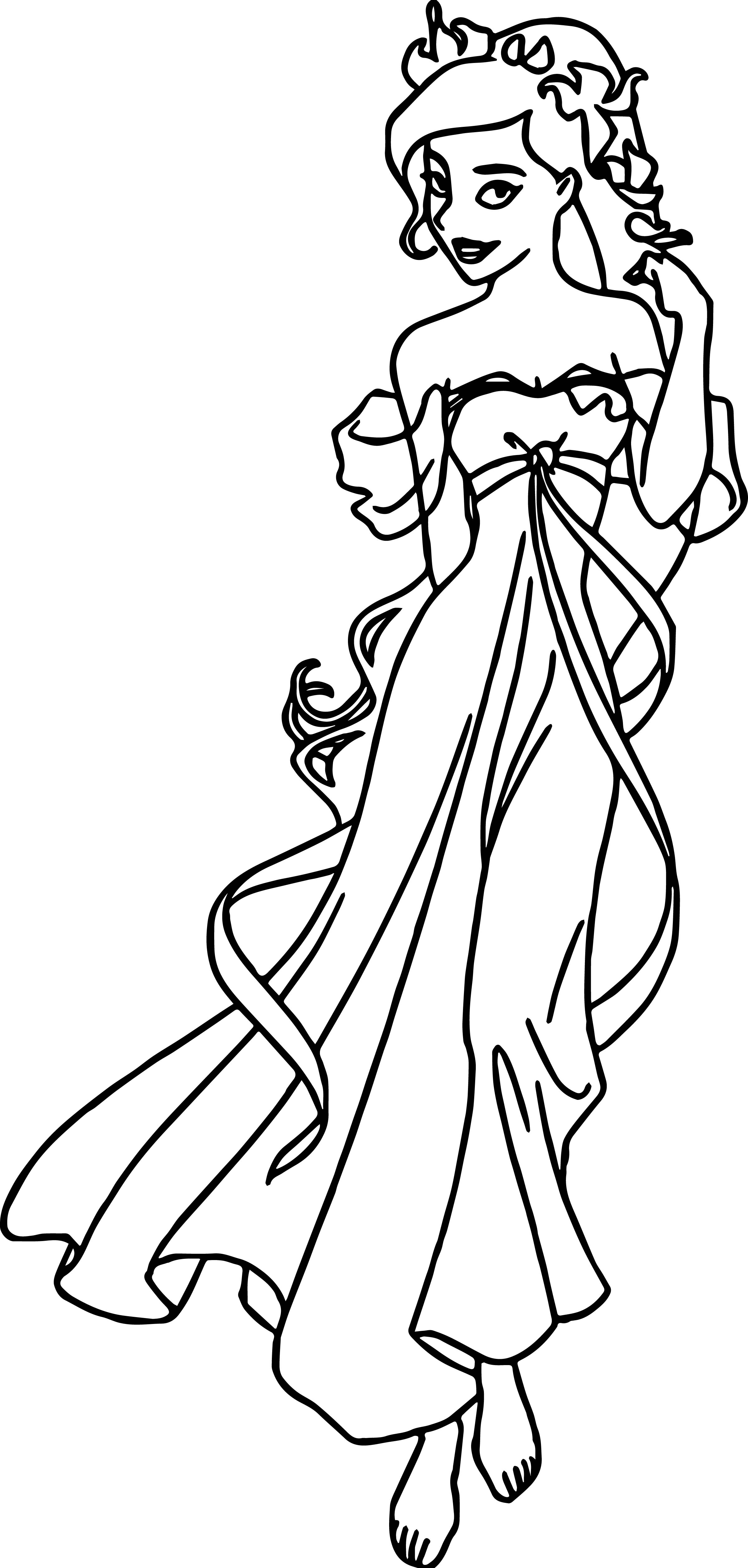 Disney Enchanted Princess Girl Walk Coloring Pages
