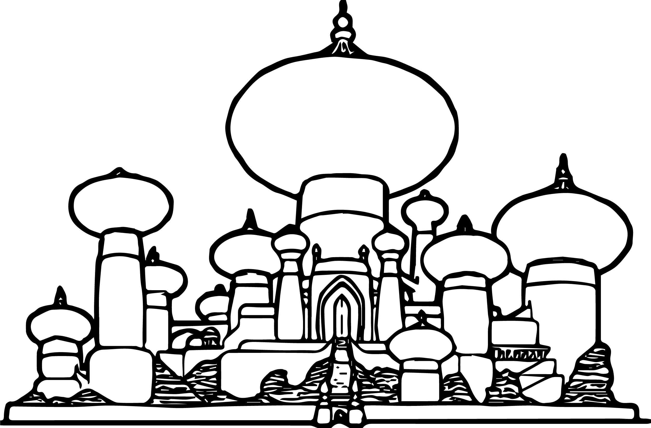 aladdin coloring pages - disney graphics aladdin castle coloring page