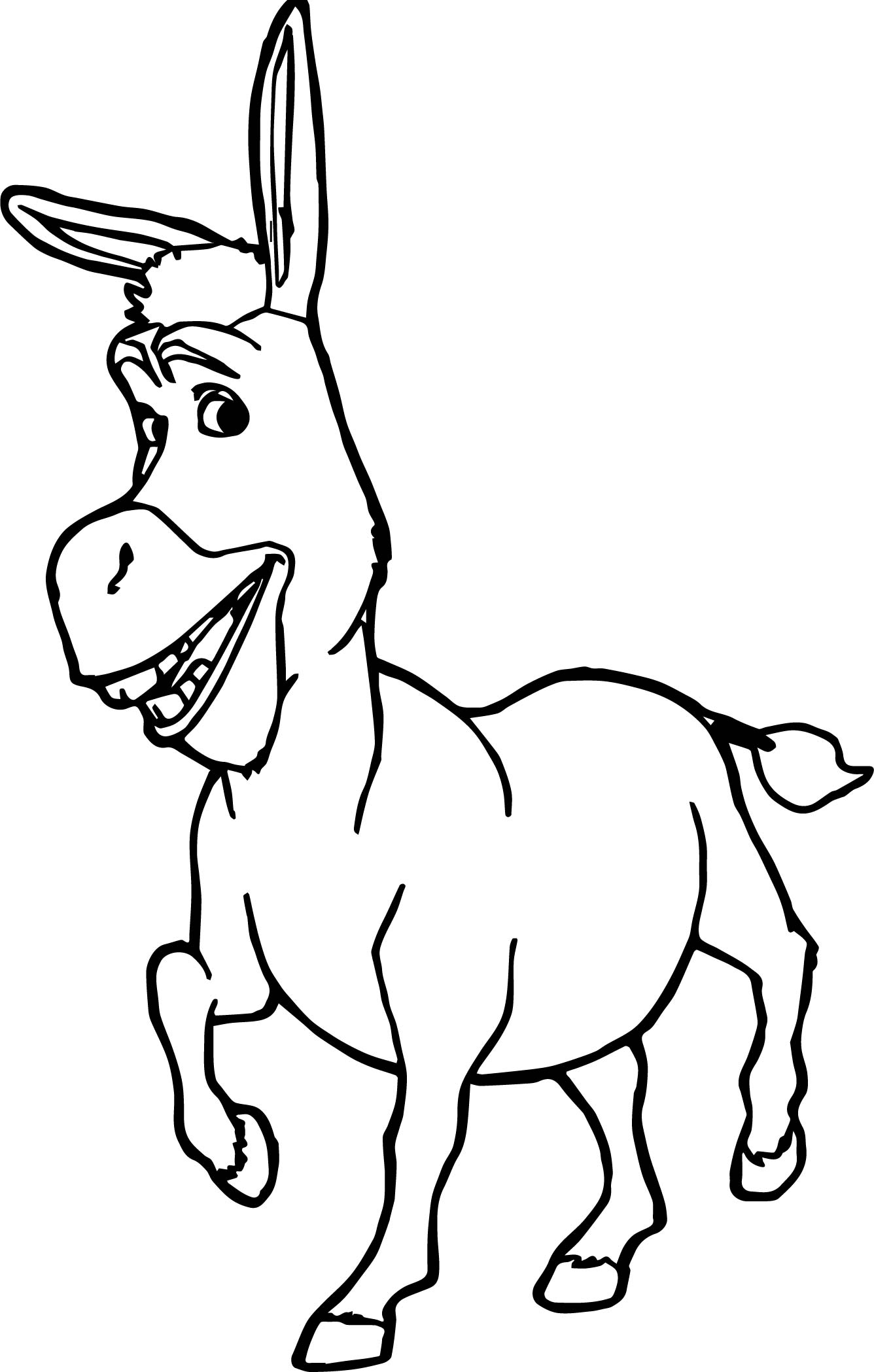 Donkey shrek coloring page for Donkey coloring pages free
