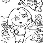 Dora And Monkey At Forest Coloring Page