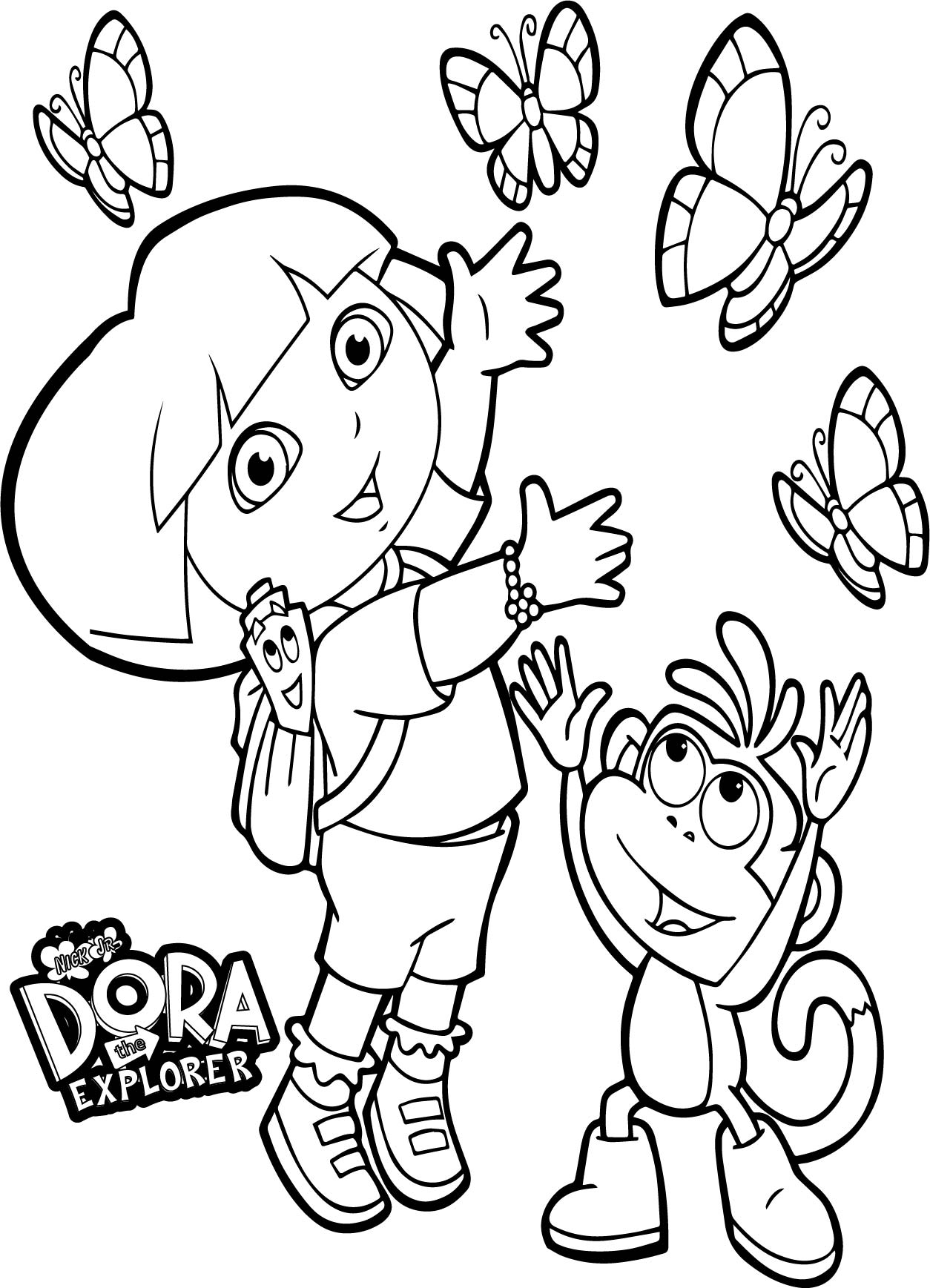 Dora And Monkey Playing With Butterflies Coloring Page