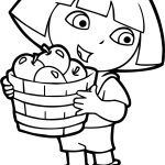 Dora Apple Fruits Coloring Page