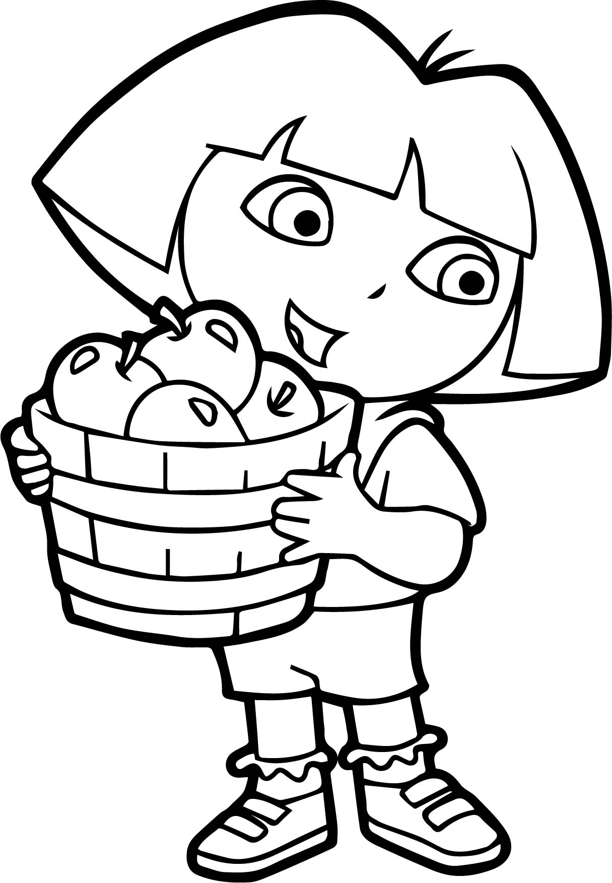 dora apple fruits coloring page wecoloringpage