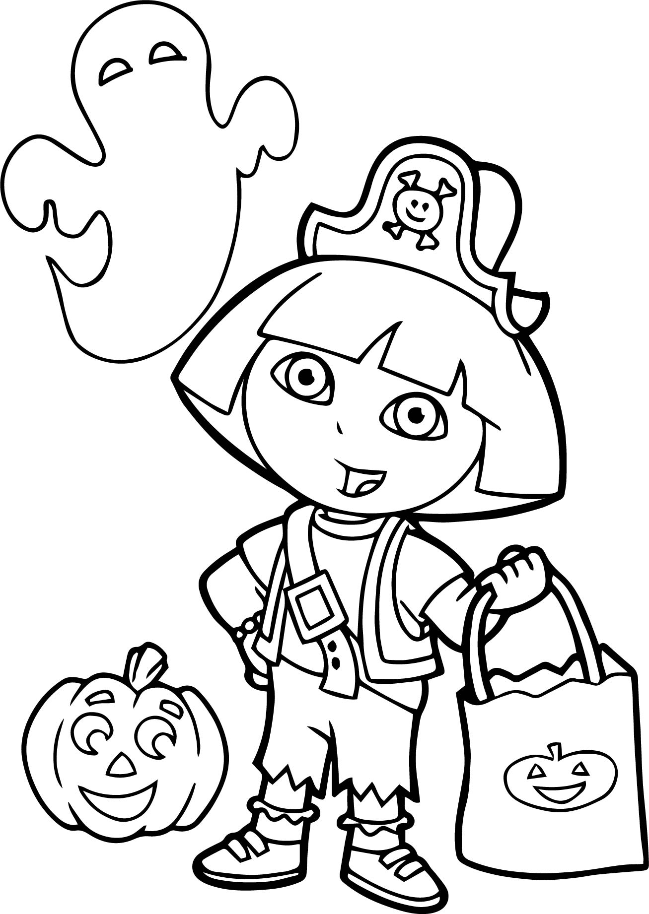 dora color page - dora halloween coloring page