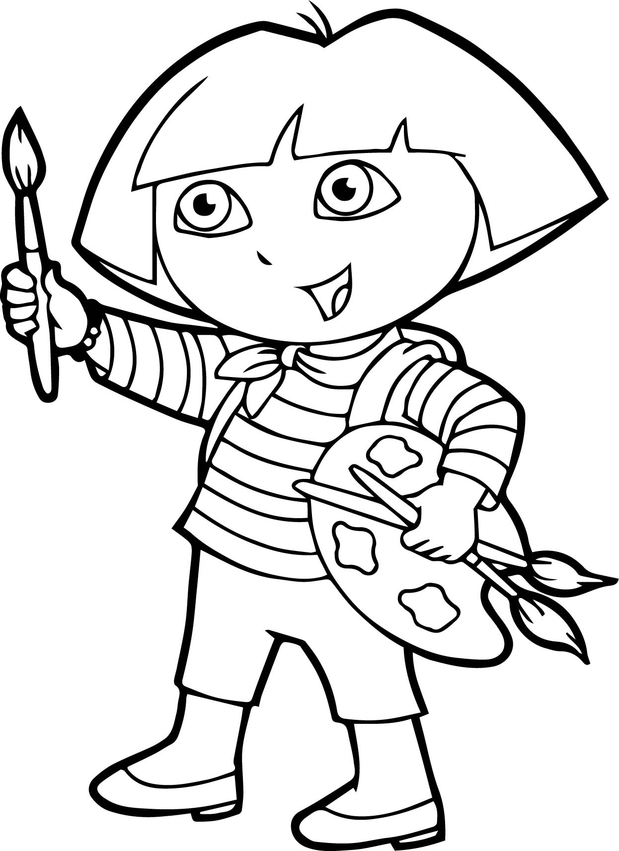 Dora Painting Coloring Page Wecoloringpage