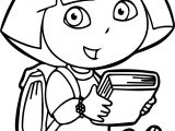 Dora Reading A Book Coloring Page