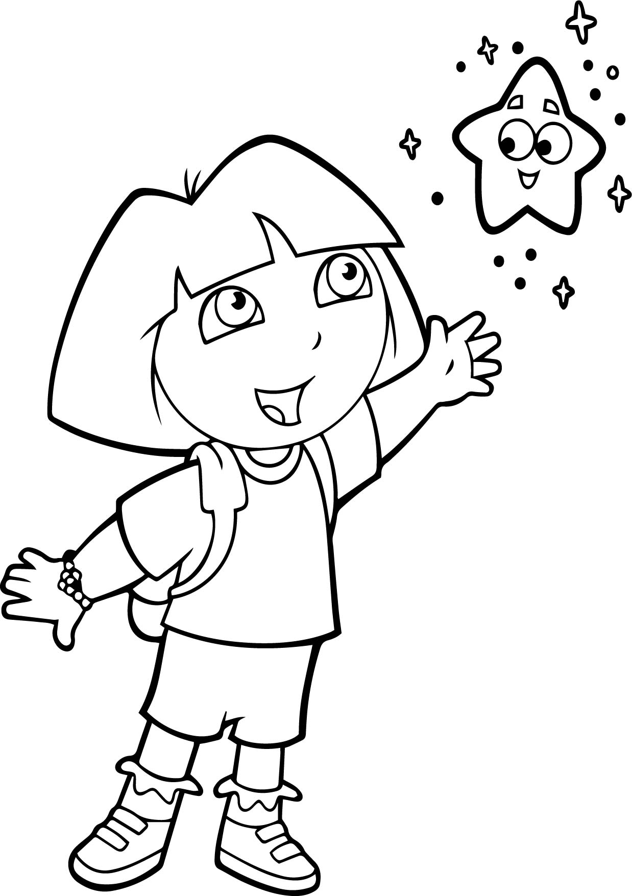 dora with the little star coloring page wecoloringpage