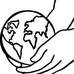 Earth Globe Hold On Hand Coloring Page