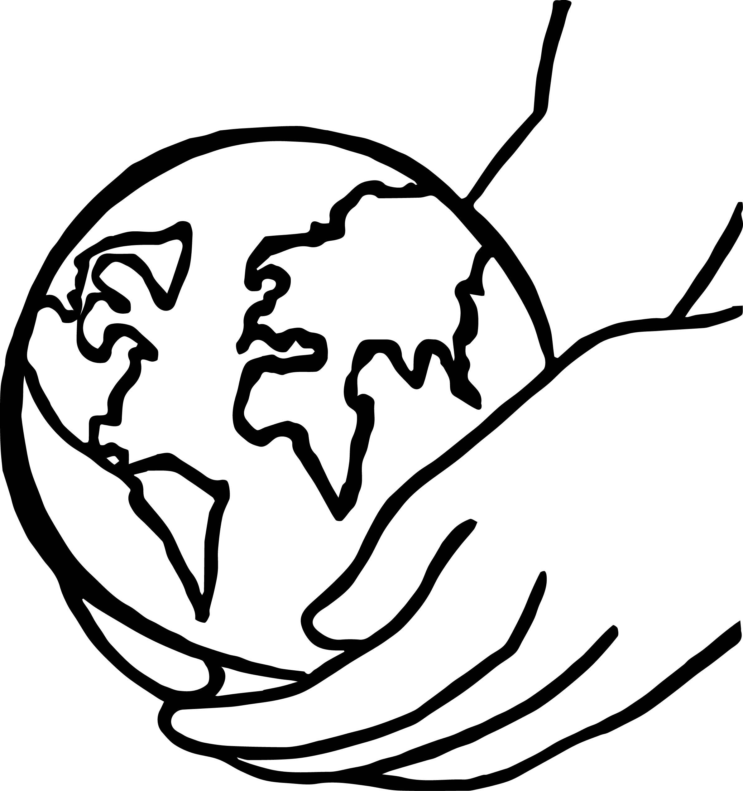 Earth globe hold on hand coloring page for Handshake coloring page