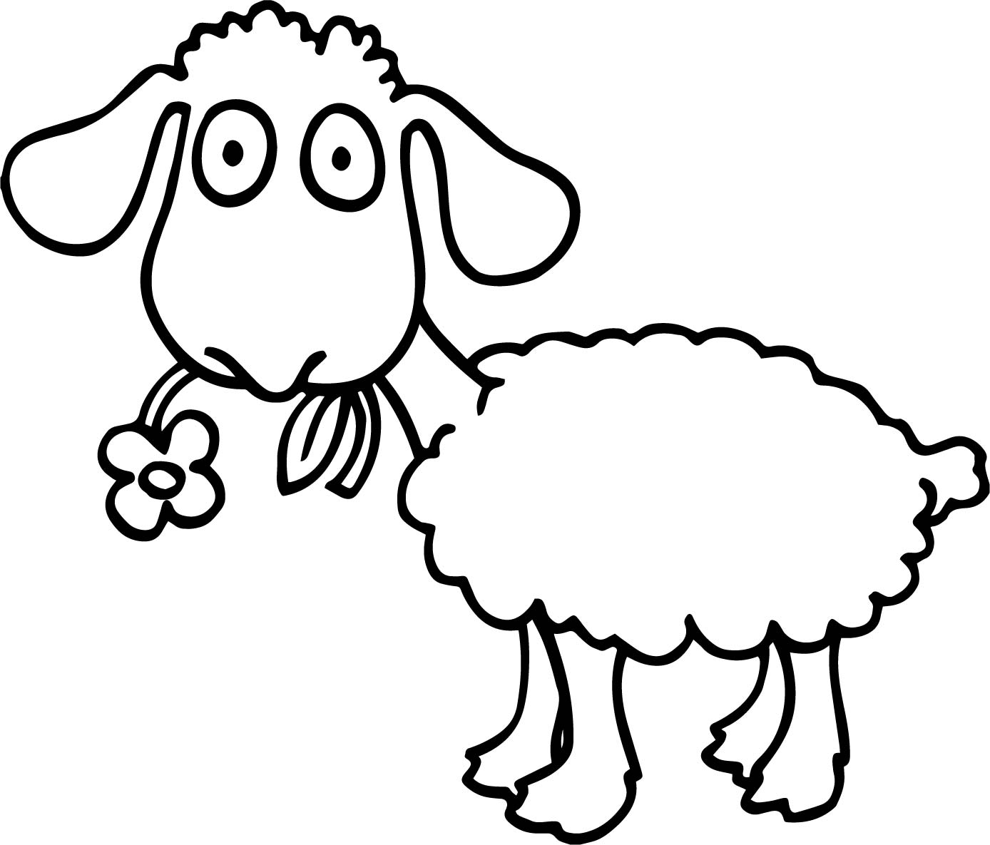 Eating Flower Sheep Coloring Page
