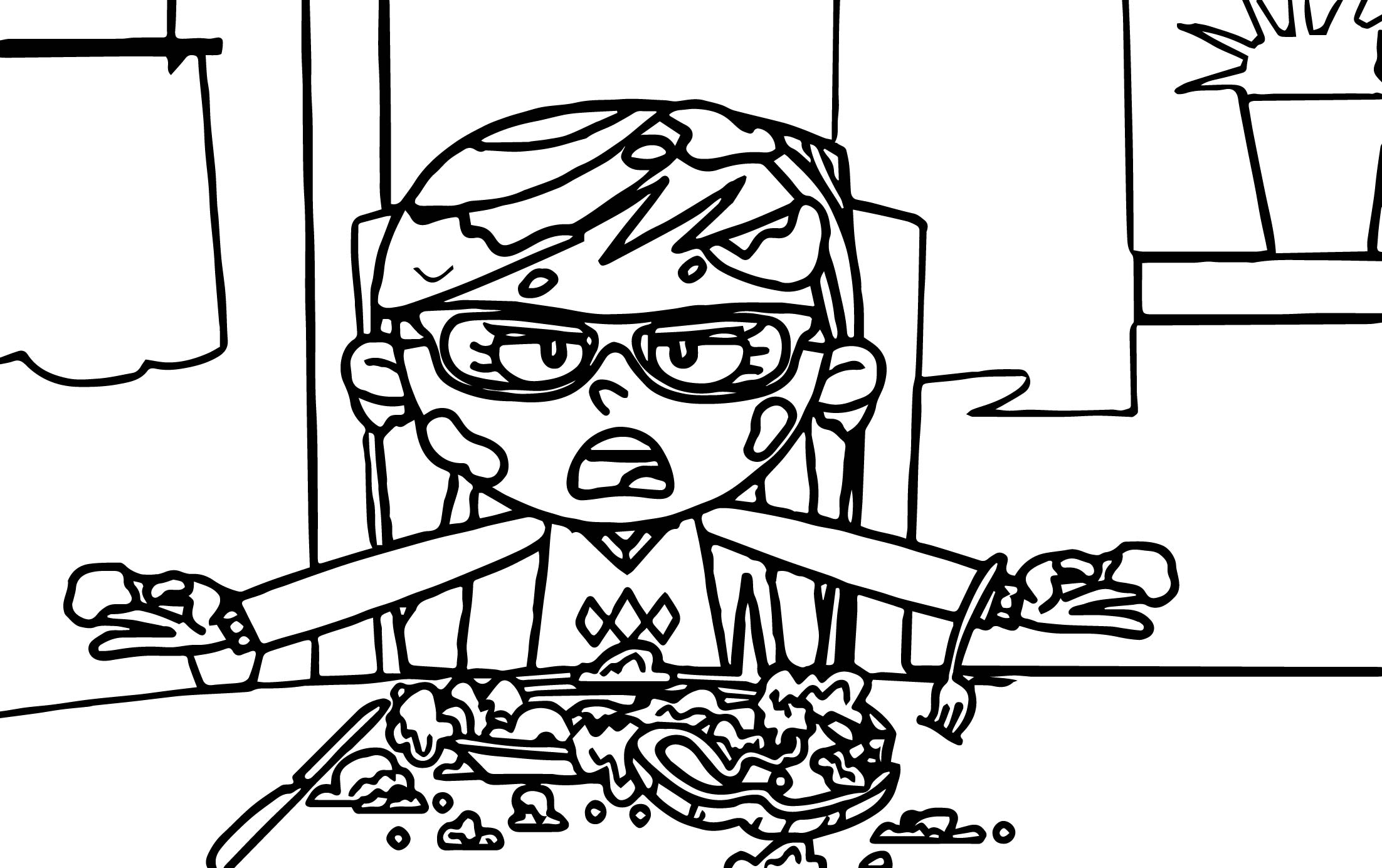Eating Girl Supernoobs Coloring Page