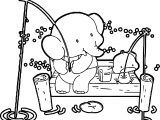 Elephant And Duck Fishing Coloring Page