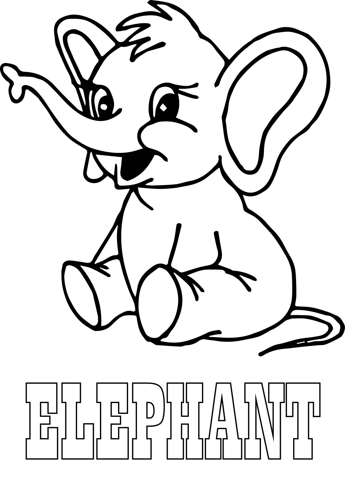 Elephant and text coloring page for Elephant coloring pages